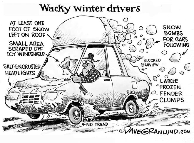 A Dave Granlund cartoon about winter driving