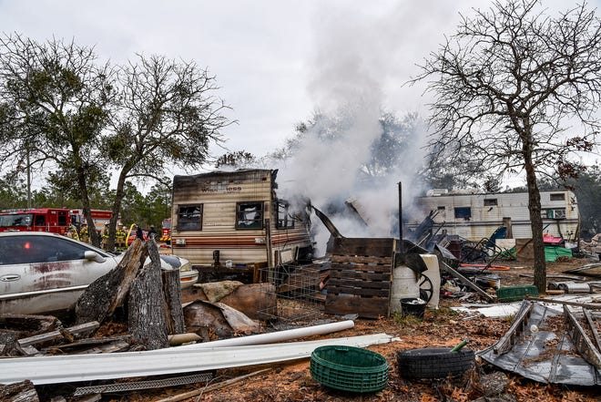 Two campers on Woodlands Boulevard were badly damaged Feb. 1, 2021, when flames from a burn barrel carried on the wind and engulfed both residences.
