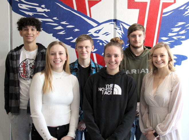 Wellsvlle High School's Winter Homecoming Queen and King candidates are, front row (from left), Maggie Heath, Laney Overman, Kaylie Reese; back row, Wyatt Bender, Dawson Dwyer and Kaden O'Neil. Coronation will be Friday at halftime of the boys varsity game.