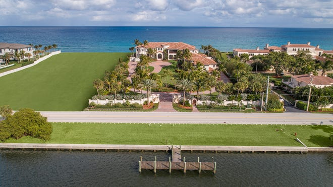 An ocean-to-lake estate at 1040 S. Ocean Blvd. in Manalapan has sold to a California buyer for $25.75 million, the price reported in the local multiple listing service.