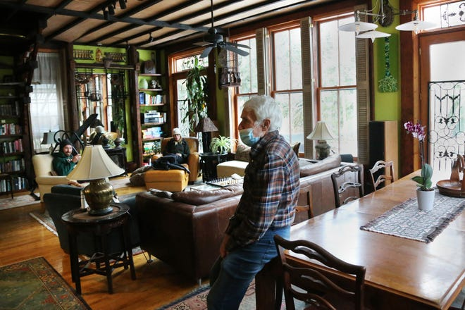 Bob Vaccaro, owner of the 1860 mansion at 411 Middle St. in Portsmouth offers residents a dining and living room community space, as seen Monday, Feb 1, 2021.