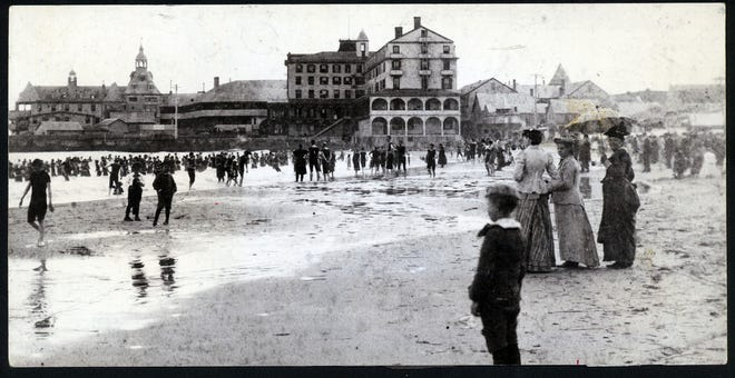 Narragansett Pier in its heyday during 1890s. The hotel at center is the Rockingham, and the famed Casino was the center of social life at the Pier.