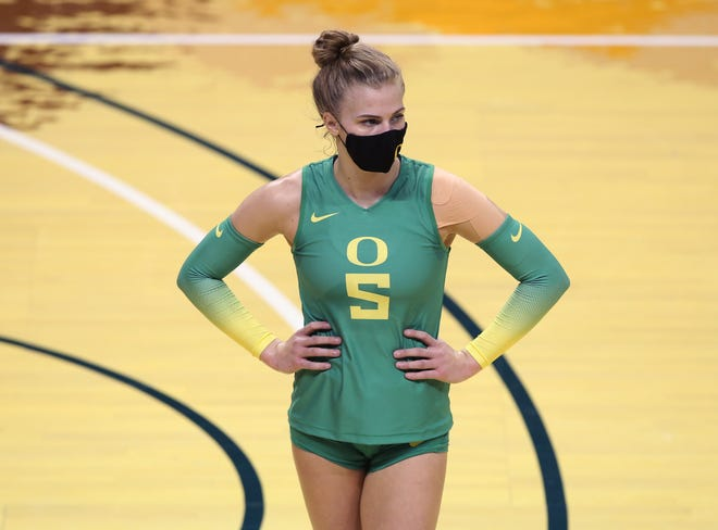 Oregon's Brooke Nuneviller in the only Pac-12 Conference player leading her team in kills and digs.