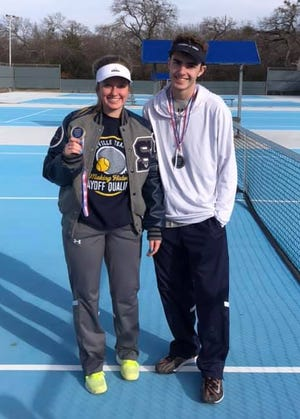 Stephenville High School tennis took part in the Parker County Peach Bowl. First place for mixed doubles went to Dylan Jones and Shyla Smith, pictured. Third place girls singles was Bailey Kammerer. Sixth place for Molly Orr in girls singles. In sixth place for girls doubles of Maci Underwood and Addie post.