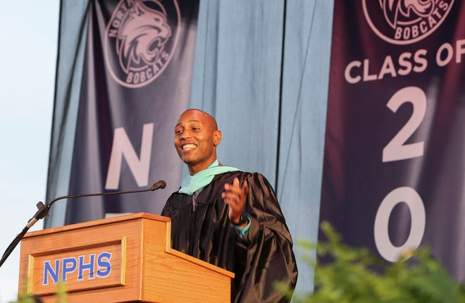 North Port High School Principal Brandon Johnson, seen here addressing the graduates during the 2018 commencement ceremony, has been named the Sarasota County School District's new executive director of elementary education.