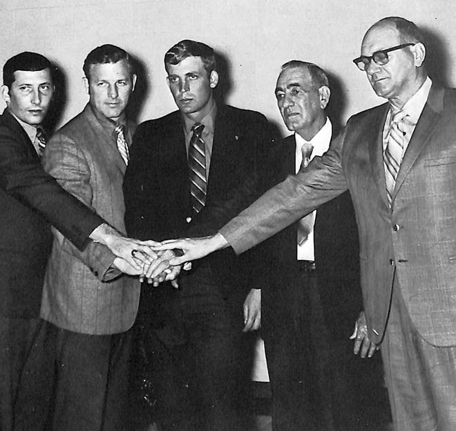 The inaugural class of the Shawnee High School Basketball Hall of Fame was inducted in February of 1971. Members included: (l-r) R.B. Lynam, 1962; Ronnie Morris, 1952; Farrell Johnson, 1960; Max Timmons, 1927; and Roy Berger, 1941. Also inducted posthumously were Cliff Shearer, 1927; and former coach Deward Jameson, (1949-58).