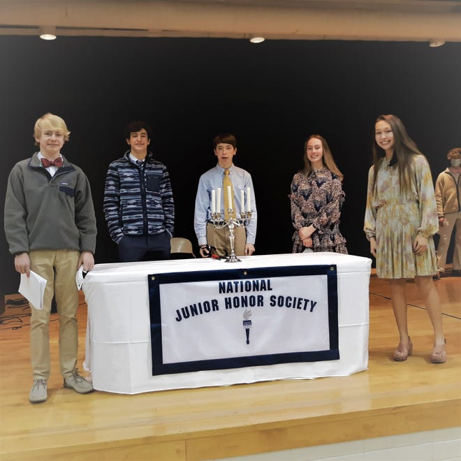 Parrott Academy National Junior Honor Society officers, left to right: Vice President Max Nelson, Co-President Asher Lowry, Secretary Bryce Brodish, Co-President Haynes Lewis, and Treasurer Hannah Henderson of New Bern. [CONTRIBUTED PHOTO]