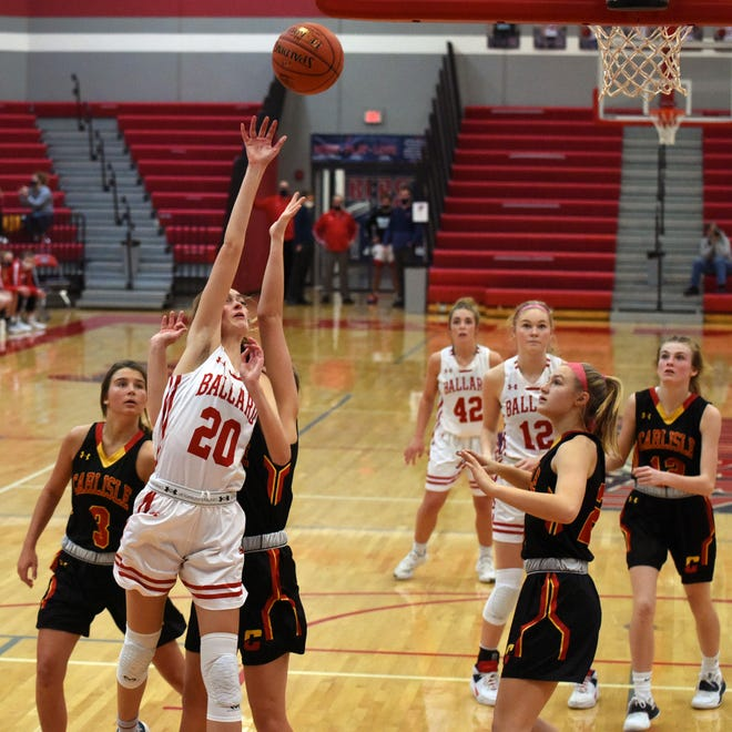 Ballard's Cassidy Thompson puts up a shot in the third quarter during the No. 2 (4A) Bombers' 52-22 victory over Carlisle Saturday at Huxley.