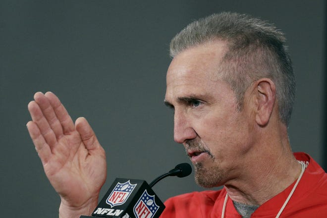 Chiefs defensive coordinator Steve Spagnuolo addressed the media at a news conference last month.