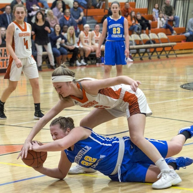 Whitinsville Christian's Olivia Cutler fights for a loose ball with Maynard's Jordan Tucker during a Central Mass. Division 4 first-round game last season.