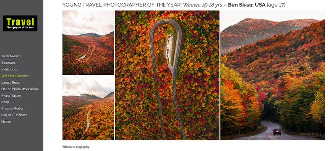 A view of Ben Skaar's photos on the Travel Photographer of the Year web page.