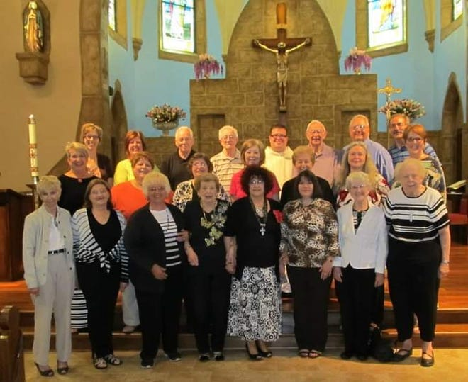 Rosemary Zorzi (fifth from left in the front row), remains active in the Immaculate Conception Choir in Dennison.
