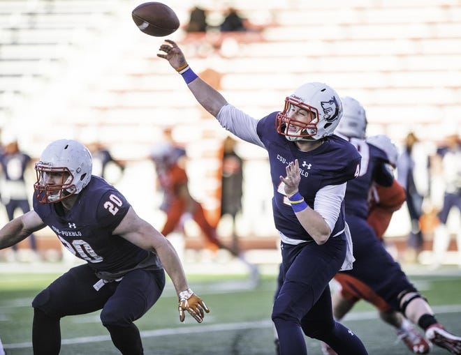 Quarterback Gunnar Lamphere unleashed a pass during Colorado State University Pueblo's spring game in 2019. [Chieftain file photo]