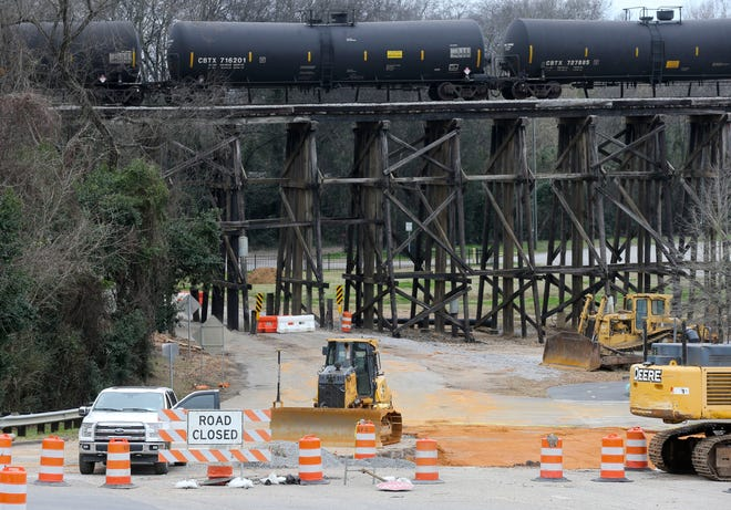 Construction work has the intersection of Jack Warner Parkway and 28th Ave. closed in Tuscaloosa Monday, February 1, 2021. [Staff Photo/Gary Cosby Jr.]