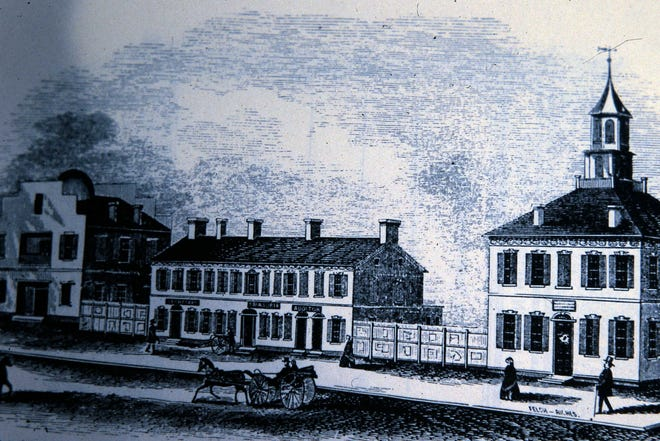 This drawing shows the first Ohio Statehouse in 1816.
