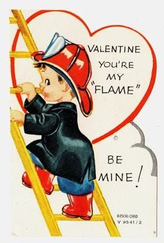A typical Valentine card from the 1940s.