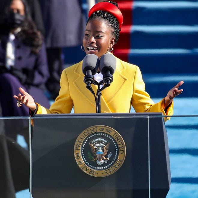 """Amanda Gorman recited her poem """"The Hill We Climb"""" at the presidential inauguration on Jan. 20."""