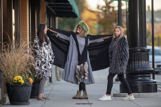 Molly O'Connor, Amanda Setaro and Sarah Connell Sanders outside of Sweet Jane's Designer Consignment on Main Street in Worcester.