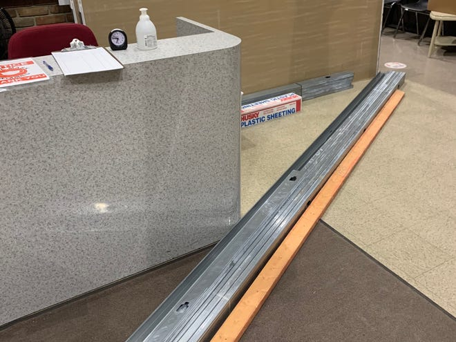 Construction material waits in the lobby of Bucyrus City Hall as renovation work continues in the utility and income tax departments.