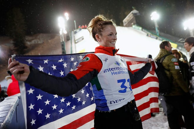 Megan Nick, of the United States, celebrates after her second-place finish in the World Cup women's freestyle aerials skiing event Friday, Feb. 7, 2020, in Park City, Utah.