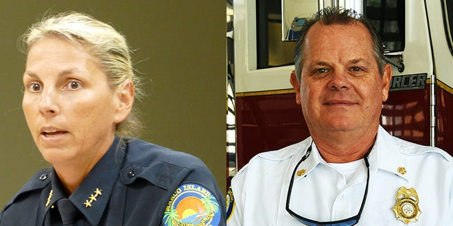 Marco Island Police Chief Tracy L. Frazzano and Marco Island Fire-Rescue Chief Christopher Byrne.