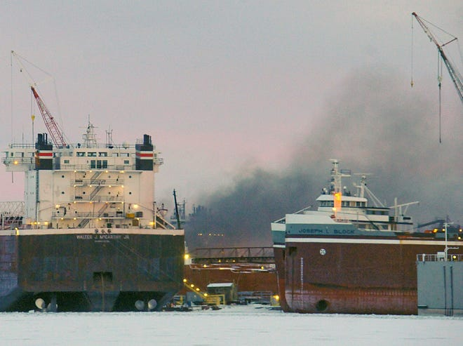 Smoke billows from a fire aboard a freighter ship, reportedly the MV Roger Blough, the morning of Feb. 1 at Fincantieri Bay Shipbuilding in Sturgeon Bay.