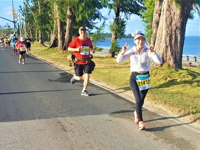Saipan marathon participants follow the island's main race path of Beach Road through San Jose village in this March 9, 2019, file photo. On Beach Road, construction will commence this year on the 2.06 miles between As Perdido Road in Chalan Piao to the Atkins Kroll intersection in Oleai.
