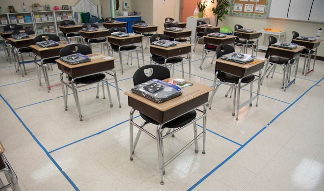 A fourth grade classroom awaits students at Tom Joy Elementary School Monday, Feb. 1, 2021 in Nashville, Tenn. Students are scheduled to phase-in for returning to in-person learning in Metro Schools beginning Feb. 4.