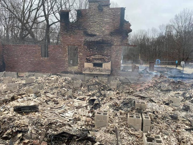 The remains of Nashville firefighter Jeremy Taylor's family home in White Bluff.