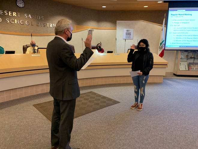 Nathaly Diaz is sworn in as a student board member.