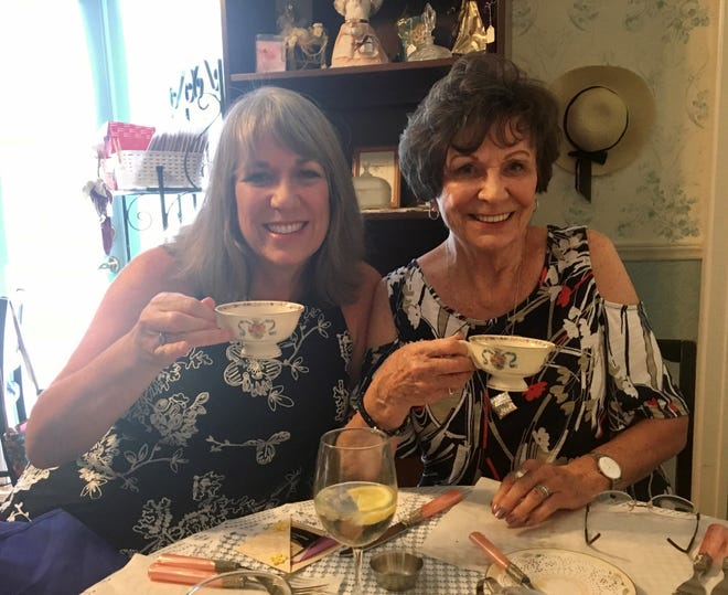 Karina Bland with her mom, Marilyn, enjoying a cup of tea on Mother's Day.