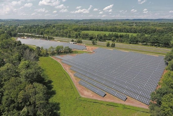A solar crop in Lambertville, Michigan.