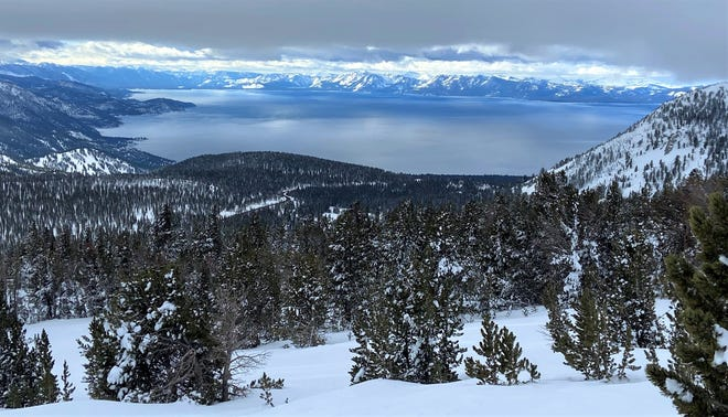 Snow blankets the Lake Tahoe region on Feb. 1, 2021.