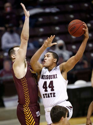 Missouri state's Gaige Prim looks to score against Loyola at JQH Arena in Springfield on January 31, 2021.