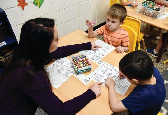 Children participate in classroom activities at Simpsonville United Methodist Preschool.