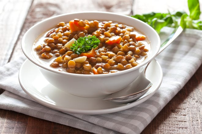 Lentils are easy to cook and they're a great source of protein, folate and prebiotics.