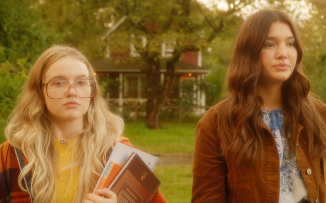 """Roan Curtis plays Young Kate and Ali Skovbye is Young Tully in the 1970s on """"Firefly Lane."""""""