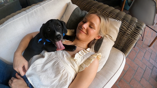 """Rescue puppy Java curls up with Kristen Bell at the actress' Los Angeles home in a """"Pup Close & Personal"""" segment during this year's """"Puppy Bowl XVII."""""""