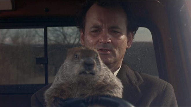 """Phil can't stop living the same day over and over in """"Groundhog Day."""""""
