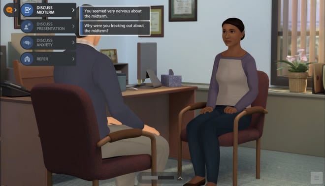 Kognito's simulator allows students and faculty at universities to walk through different mental health scenarios and provides information about resources offered by those universities. Texas State University currently uses it.