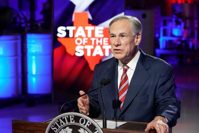 Lockhart, Texas Feb. 1, 2021: Texas Governor Greg Abbott prepares to deliver his State of the State speech at Visionary Fiber Technologies outside Lockhart, TX.  Abbott is proposing expansion of telemedicine and increased broadband access for rural Texans among other policies.