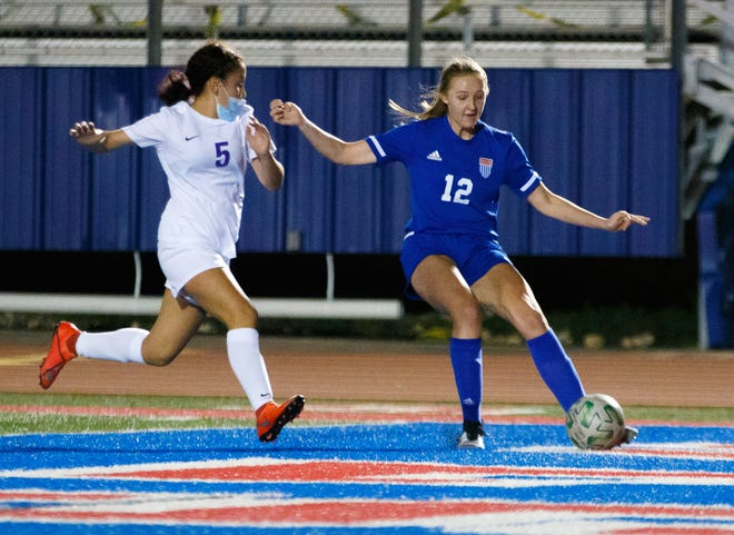 Westlake's Addison Bray, right, battles for the ball against San Marcos last week. Bray, a sophomore, had three goals and an assist during the week for the Chaps as they tied Bowie and shut out San Marcos. Bray scored twice against the Ratters and had a goal and assist against the Bulldogs.
