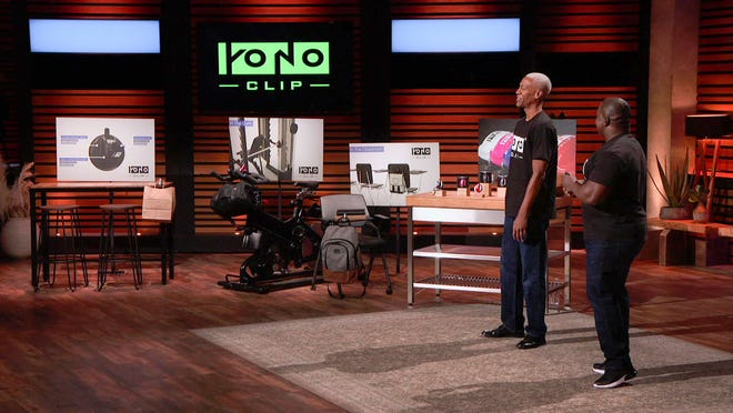 "YONO Clip inventors Michael Green (from left) and Bob Mackey, of Athens, appeared on ABC's ""Shark Tank"" last week. Afterward, the two were contacted by a Staples executive who wants to sell the YONO Clip."