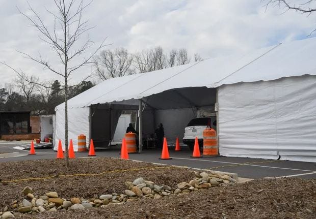 The Northeast Health District has set up a drive-thru vaccine location on Oneta Street. [Julian Alexander for the Athens Banner-Herald]