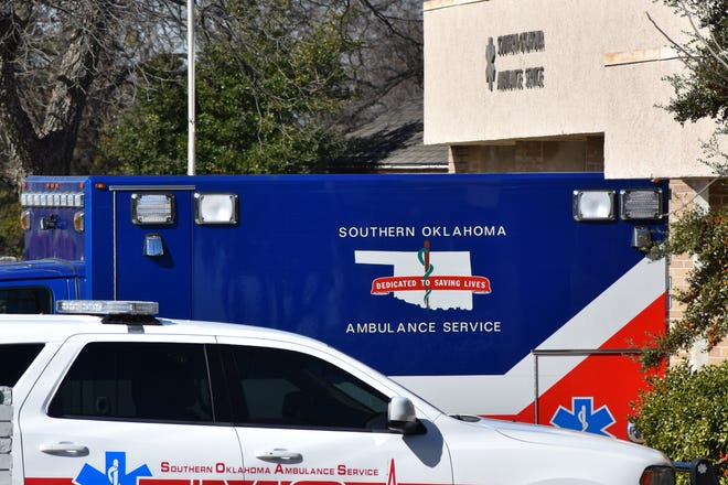 Emergency vehicles sit outside of the Southern Oklahoma Ambulance Service headquarters on Tuesday, Feb. 2, 2021.