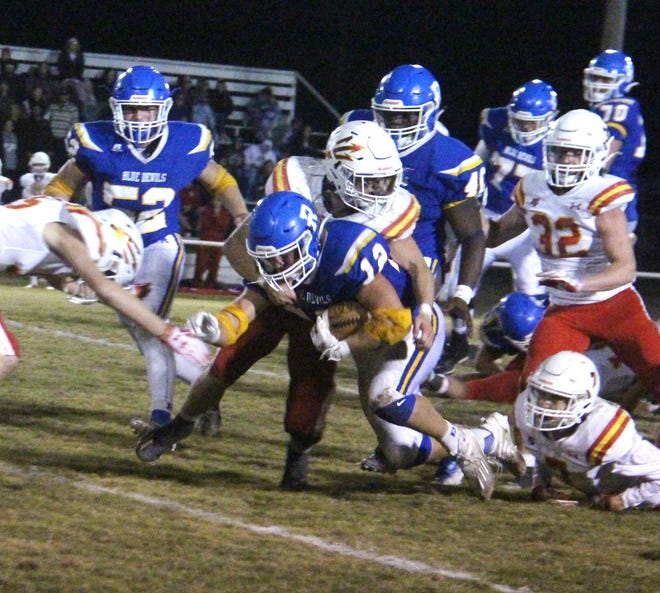 Ringling's River Miller was named to the 2021 All-State football team at linebacker. The senior tallied 176 tackles, 12 tackles for loss and four sacks as the Blue Devils advanced to the semifinals of the Class A State Playoffs.