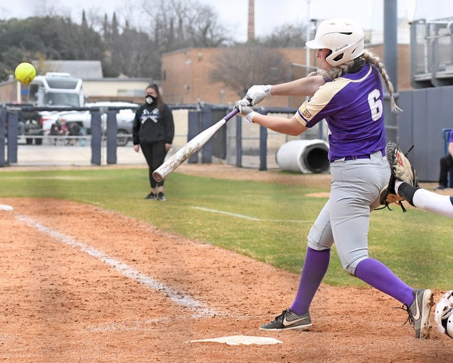 Grizzly freshman Emily Adler makes contact during Saturday's 7-6 victory over Coastal Bend in San Antonio, Texas. The Grizzlies split the two games on Saturday, moving their record to 3-1 on the year.