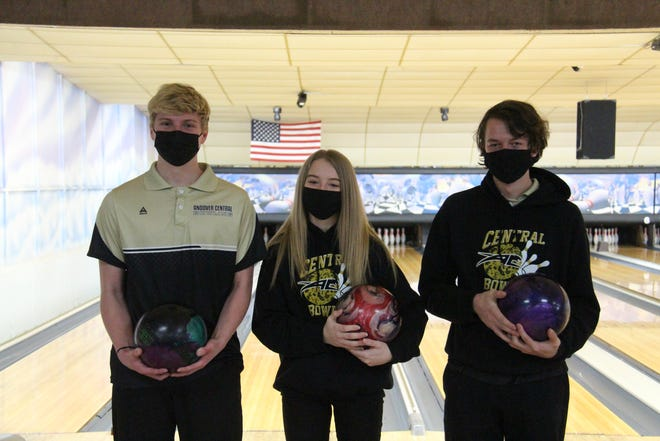 Jared Cromly (left), Paighton Crumley (middle) and Tim Blount (right) are all trying to get the Andover Central bowling team into the Class 5A-1 State Tournament next month. [Charles Chaney/Butler County Times]