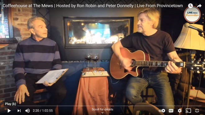 Musician Peter Donnelly, right, leads a virtual version Monday nights of the long-running Coffeehouse at The Mews with Mews Restaurant owner Ron Robin, left.