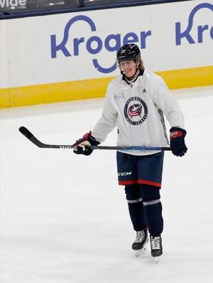 New Blue Jackets forward Patrik Laine works out at the team's morning skate at Nationwide Arena on Tuesday.
